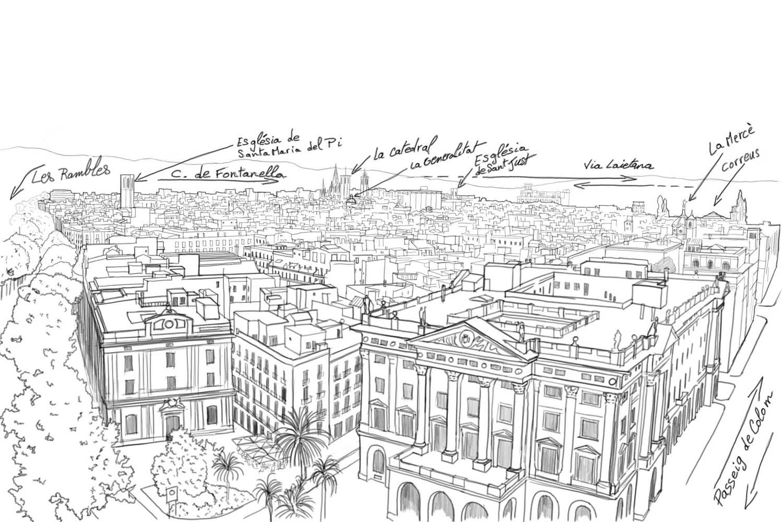 vue d'ensemble barri gòtic de Barcelone en dessin