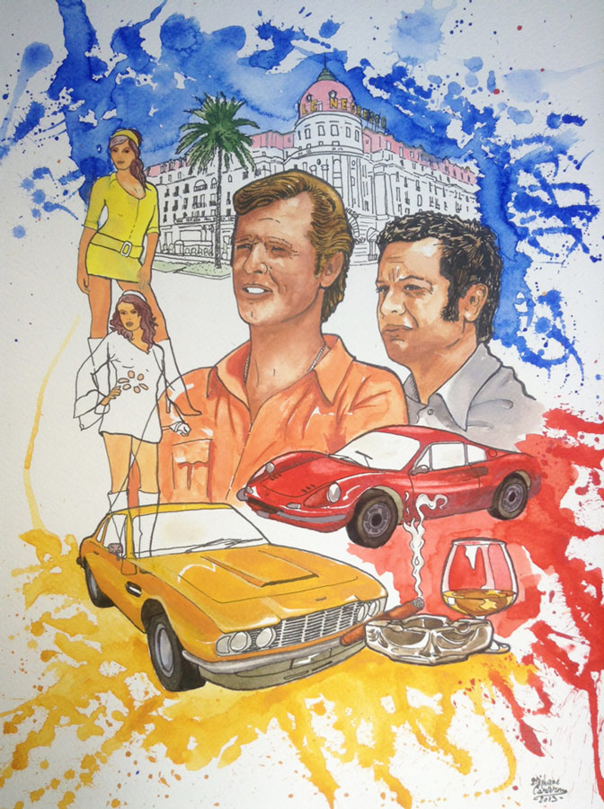 """Illustration hand made, tribute to """"the avengers"""", Roger Moore and Tony Curtis"""