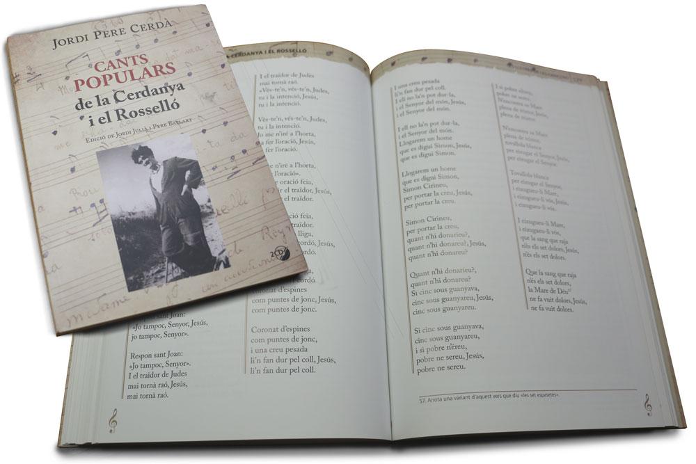 Graphisme et mise en page du livre Cants populars de la Cerdanya i el Rosselló -184 pages, editorial Mediterrània