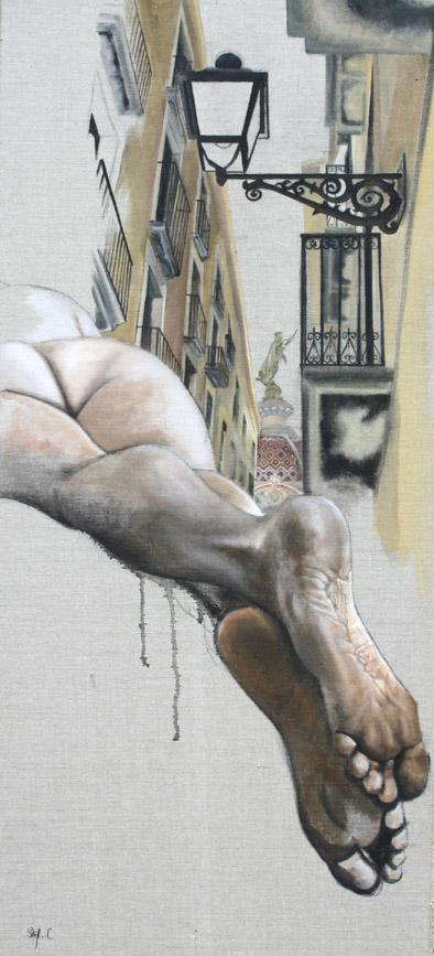 Pasage de las plegarias - Acrilique sur toile 60 x 130 cm