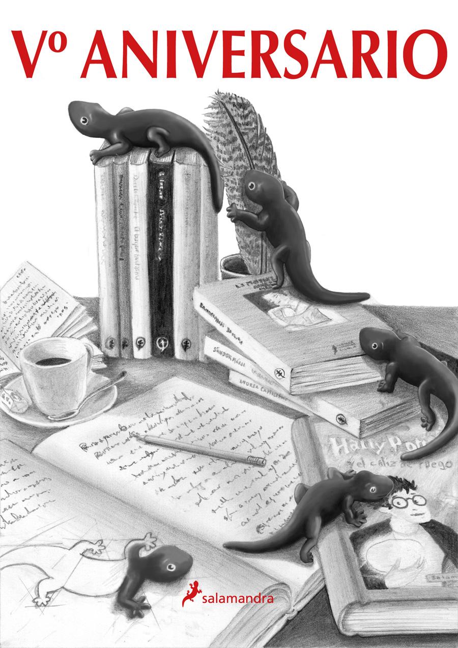illustration au crayon de papier et retouches photoshop pour l'anniversaire de l'éditorial Salamandra