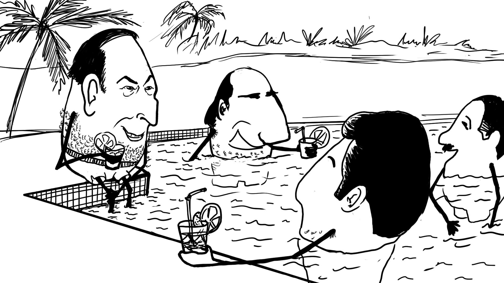 """VGE en maillot de bain dans une piscine en Martinique avec le président américain Gérald Ford. création d'une animation hebdomadaire pour le web site du programme """"Expliquez-nous"""" de France info"""
