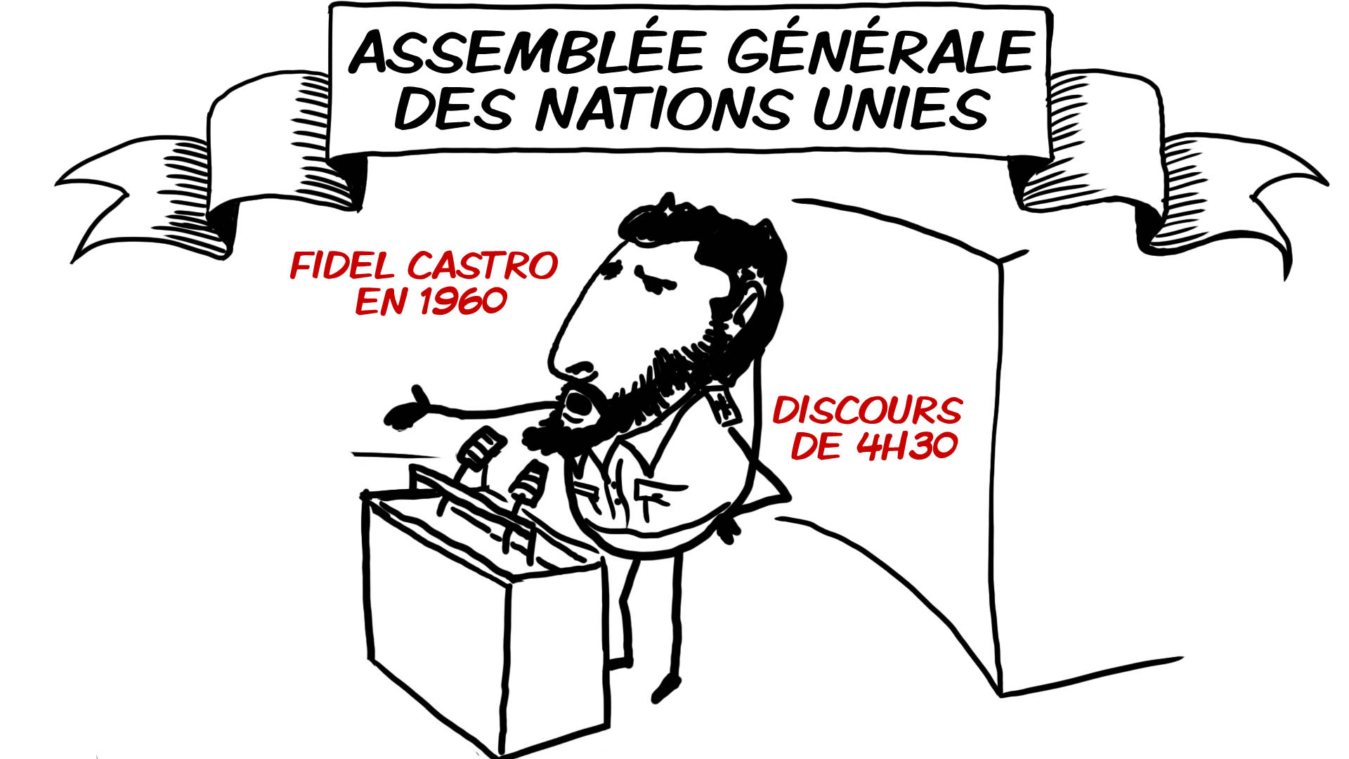 """L'Assemblée générale de l'ONU, ça consiste en quoi ? Réponse mis en images par Stéphane Carteron. création d'une animation hebdomadaire pour le web site du programme """"Expliquez-nous"""" de France info"""