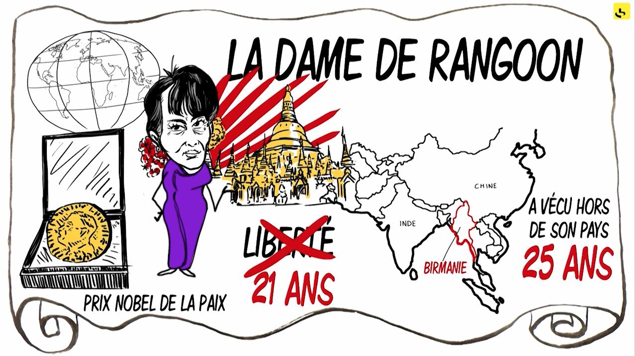 """Qui est Aung San Suu Kyi ? création d'une animation hebdomadaire pour le web site du programme """"Expliquez-nous"""" de France info"""