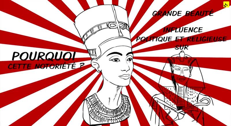 """Qui était Néfertiti ? - Réponse mise en images par Stéphane Carteron. création d'une animation hebdomadaire pour le web site du programme """"Expliquez-nous"""" de France info"""