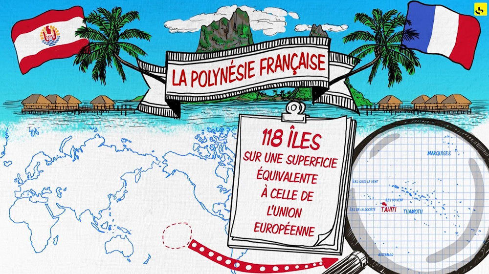 """La Polynésie française, c'est quoi ? création d'une animation hebdomadaire pour le web site du programme """"Expliquez-nous"""" de France info"""