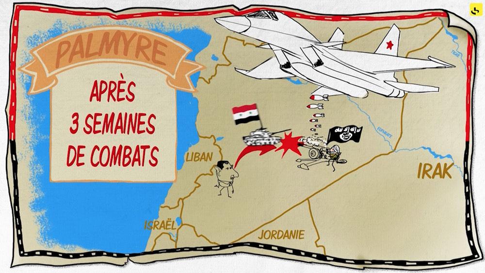 """Que se passe-t-il dans la ville de Palmyre ? création d'une animation hebdomadaire pour le web site du programme """"Expliquez-nous"""" de France info"""