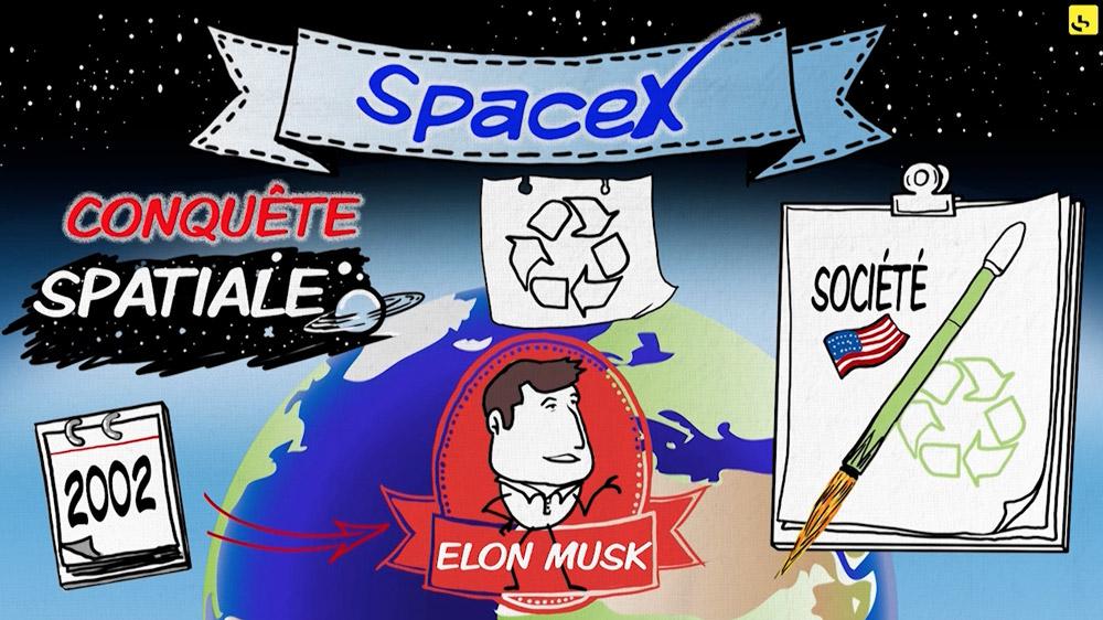"""SpaceX, c'est Quoi ? création d'une animation hebdomadaire pour le web site du programme """"Expliquez-nous"""" de France info"""
