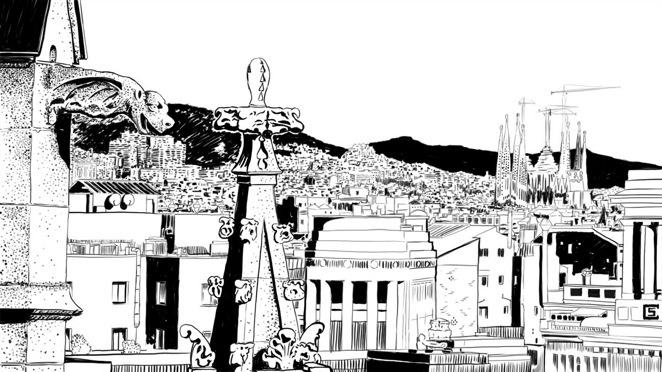 Illustration noir et blanc, vue depuis la cathédrale de Barcelone