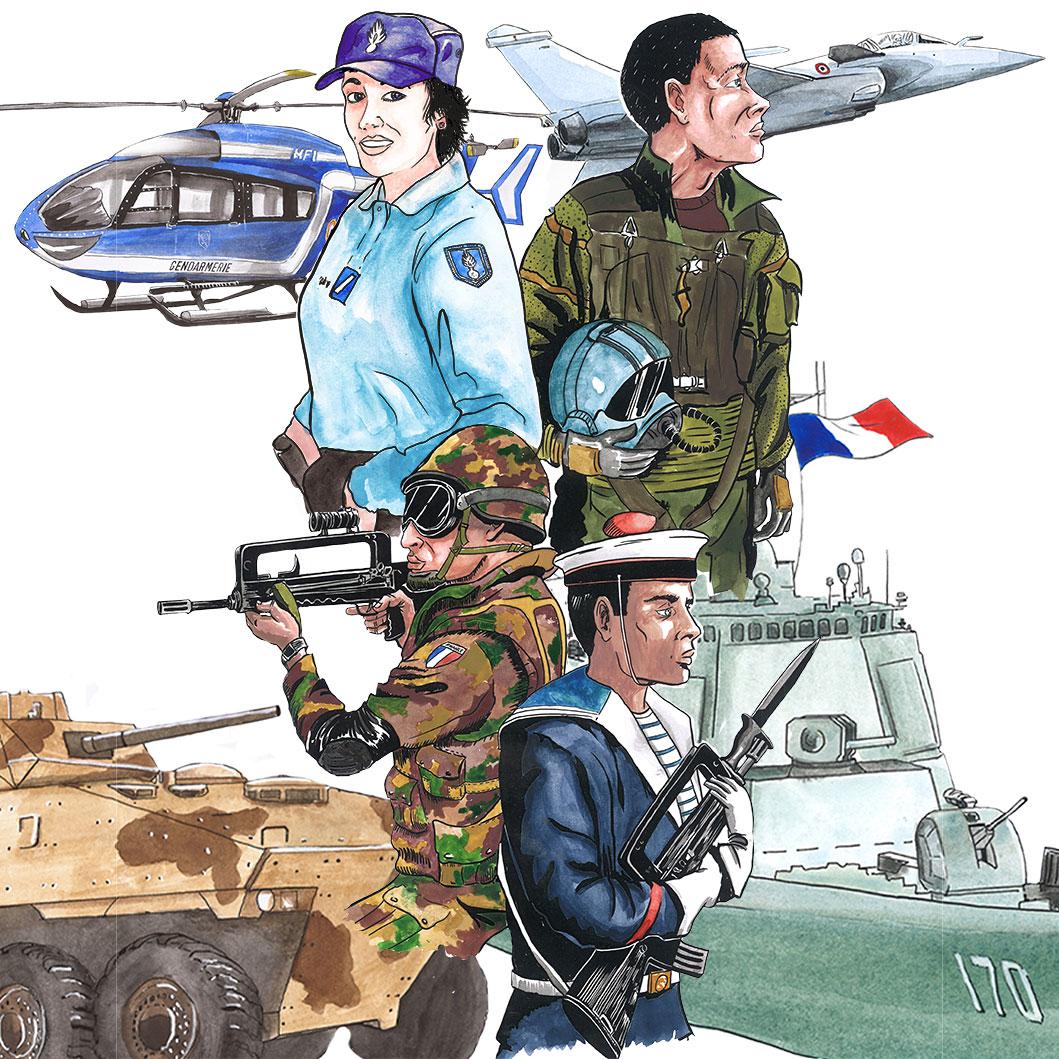 illustration des 4 armées pour la couverture de l'agenda de l'UNC 2019