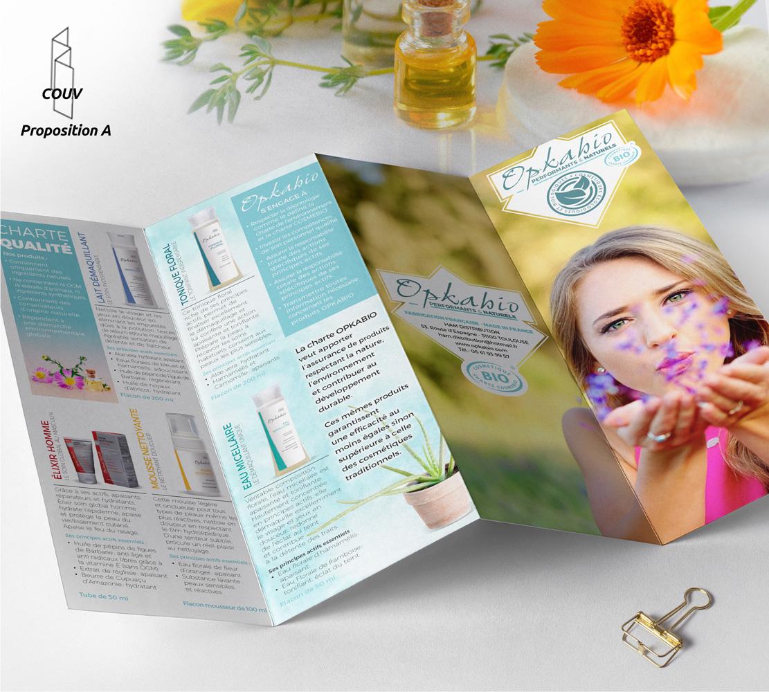 création du dépliant de produits cosmetiques opkabio