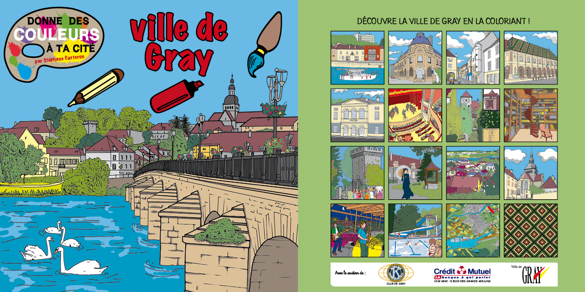 Colorie la ville de Gray, cahier de coloriage de stephane carteron