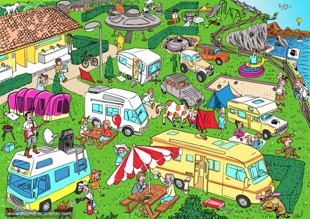 """Illustration pour le cahier de vacances """"Mon premier Cherche & Trouve – Spécial Corse"""" aux éditions Clémentine"""
