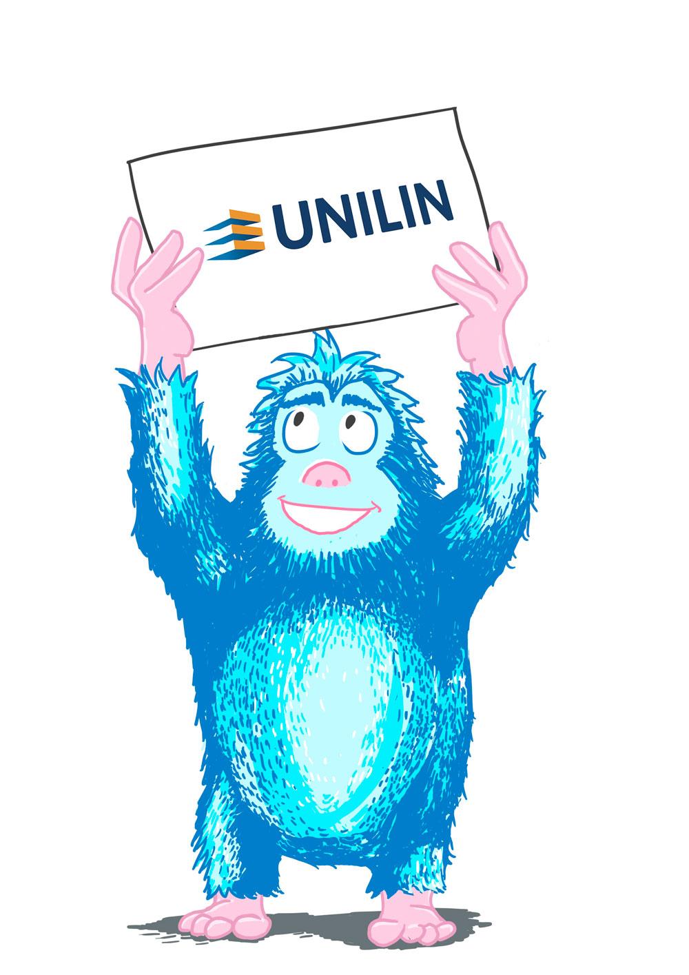 Création d'un mascotte pour UNILIN. Illustrateur indépendant